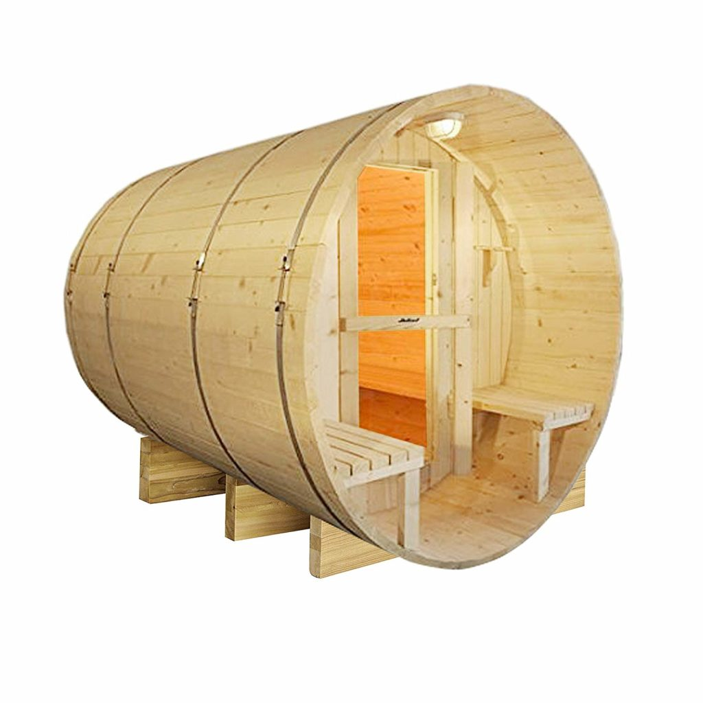 ALEKO SB8PINECP Finnish White Pine Indoor Outdoor Wet Dry Barrel Sauna with 9 kW ETL Certified Heater 8 Person 93 x 72 x 75 Inches