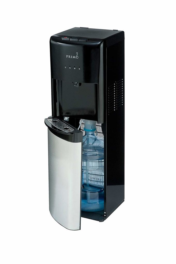 Primo Bottom Loading Water Cooler - 3 Temperature Settings, Hot, Cold, Cool - Energy Star Rated Water Dispenser w/Child-Resistant Safety Feature Supports 3 or 5 Gallon Water Jugs [Black w/Stainless]