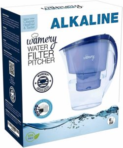 WAMERY Alkaline Water Pitcher 1.5 Liters, 6 Cup, Enhanced 2020 Slim Model, Free Filter Included, Improves pH, Removes Lead, Chlorine, Copper and more.