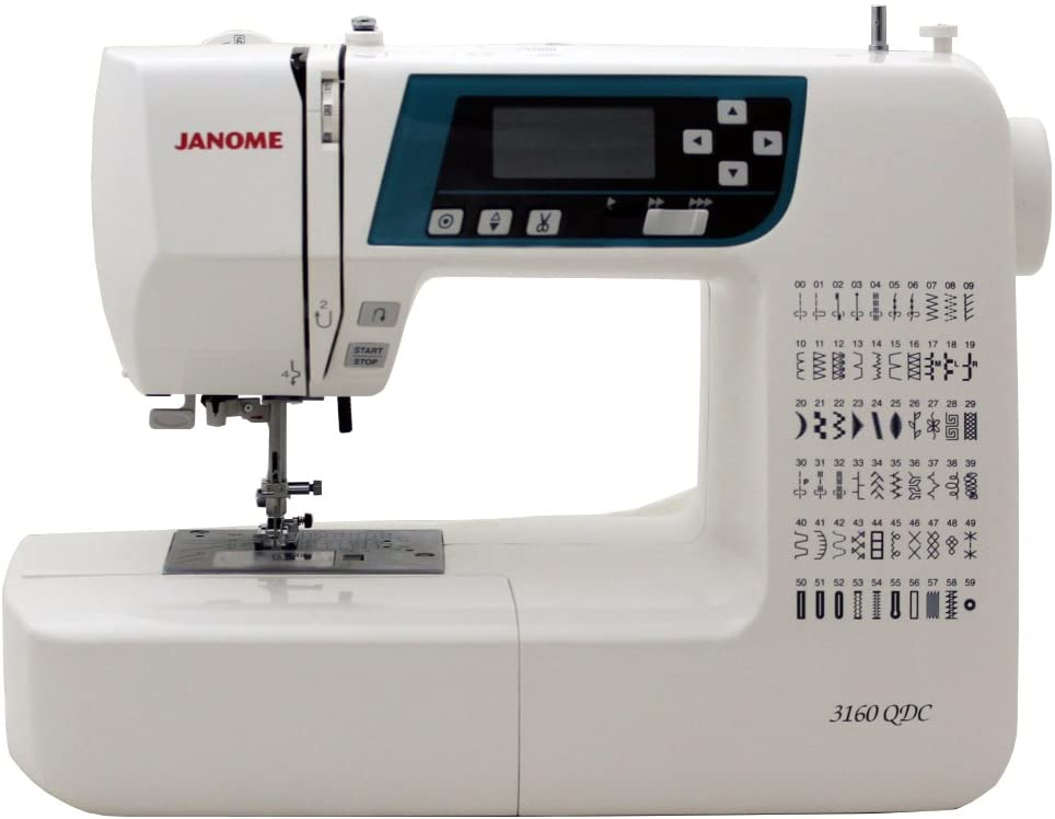 Janome 3160QDC Computerized Sewing Machine (New 2020 Tan Color) w/Hard Cover + Extension Table + Quilt Kit + 1/4 Seam Foot w/Guide + Overedge Foot + Zig Zag...