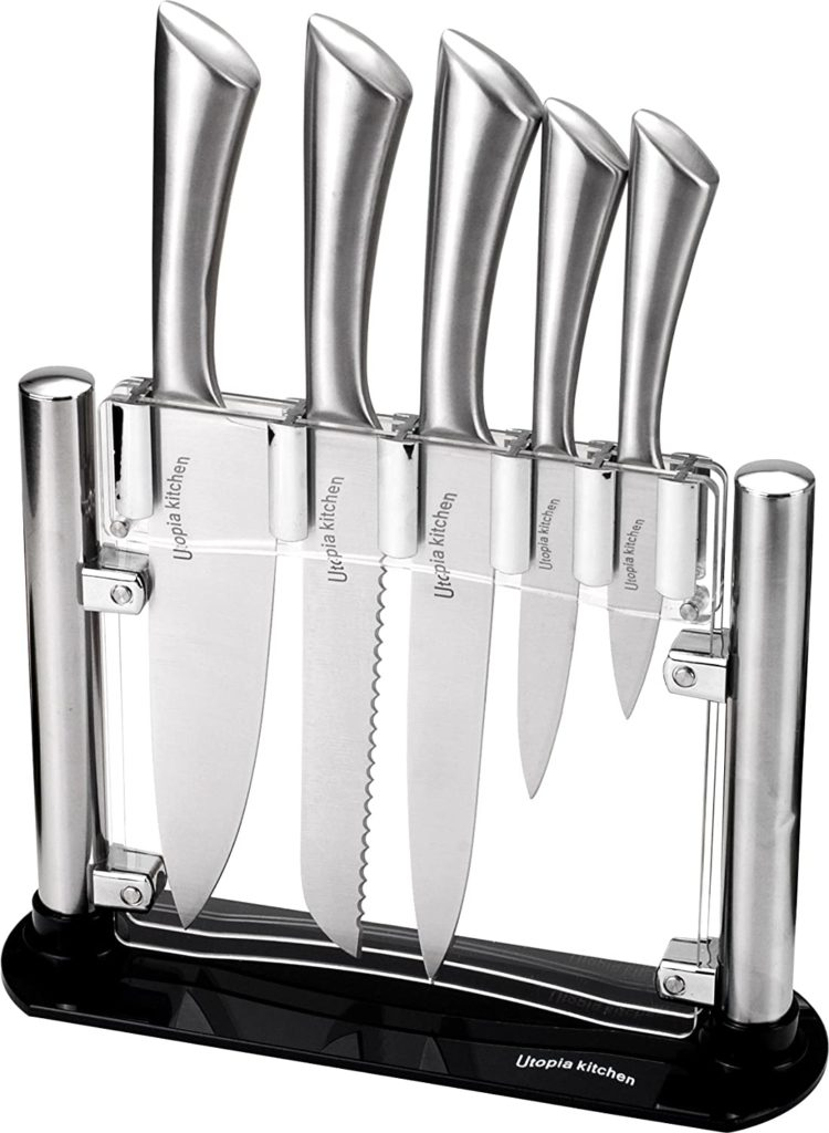 Utopia Kitchen Knife Set with Block - Cooking Knife Set 5 Pieces Stainless Steel Knives with an Acrylic Stand