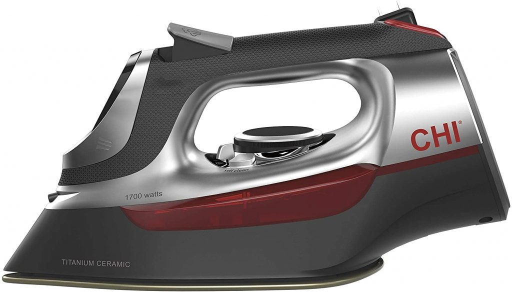 CHI Steam Iron for Clothes with Titanium Infused Ceramic Soleplate, 1700 Watts, Electronic Temperature Control, 8' Retractable Cord, 3-Way Auto Shutoff,...
