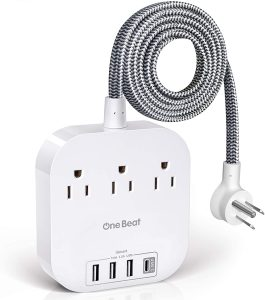 1. One Beat Power Strip with USB C, 3 Outlets 4 USB Ports (22.5W/4.5A) Desktop Charging