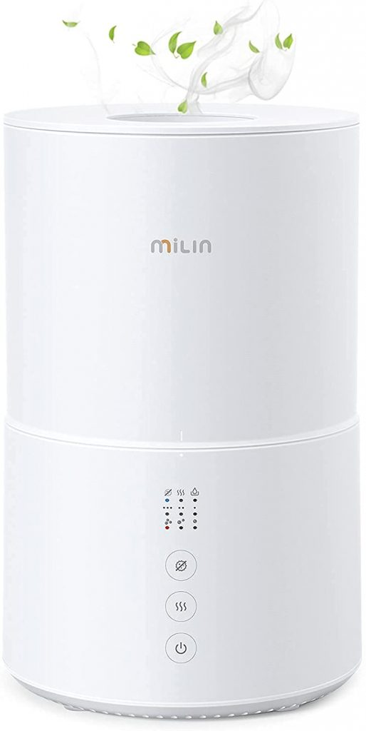 5. MILIN Cool Mist Humidifier, Top Fill Germ Free Humidifiers for Bedroom, Air Humidifier with Essential Oil