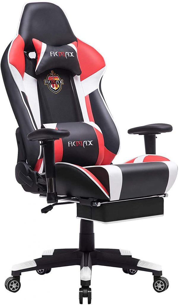 1. Ficmax Gaming Chair with Footrest Ergonomic PU Leather Computer Chair for Gaming