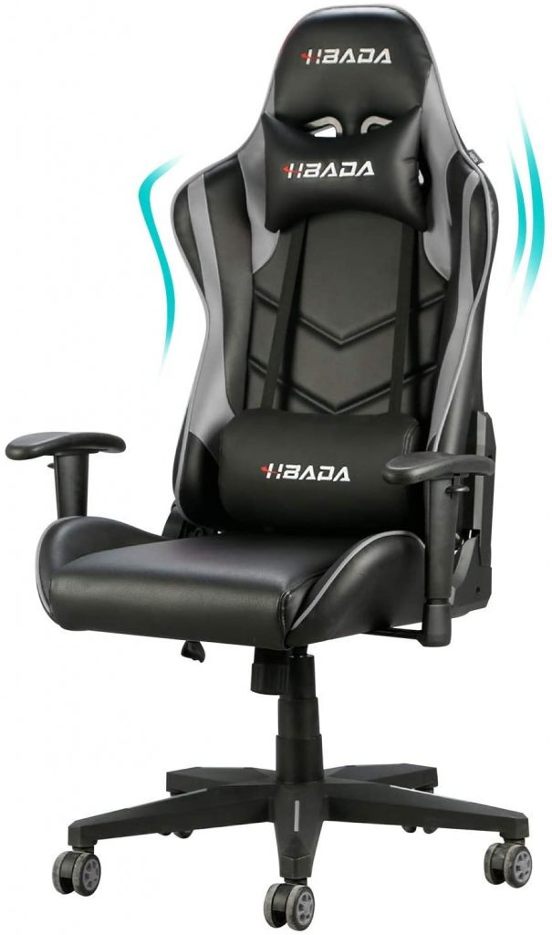 2. Hbada Gaming Chair Ergonomic Racing Chair High-Back Computer Chair with Height Adjustment Headrest and Lumbar Support E-Sports Swivel Chair, Grey and Black