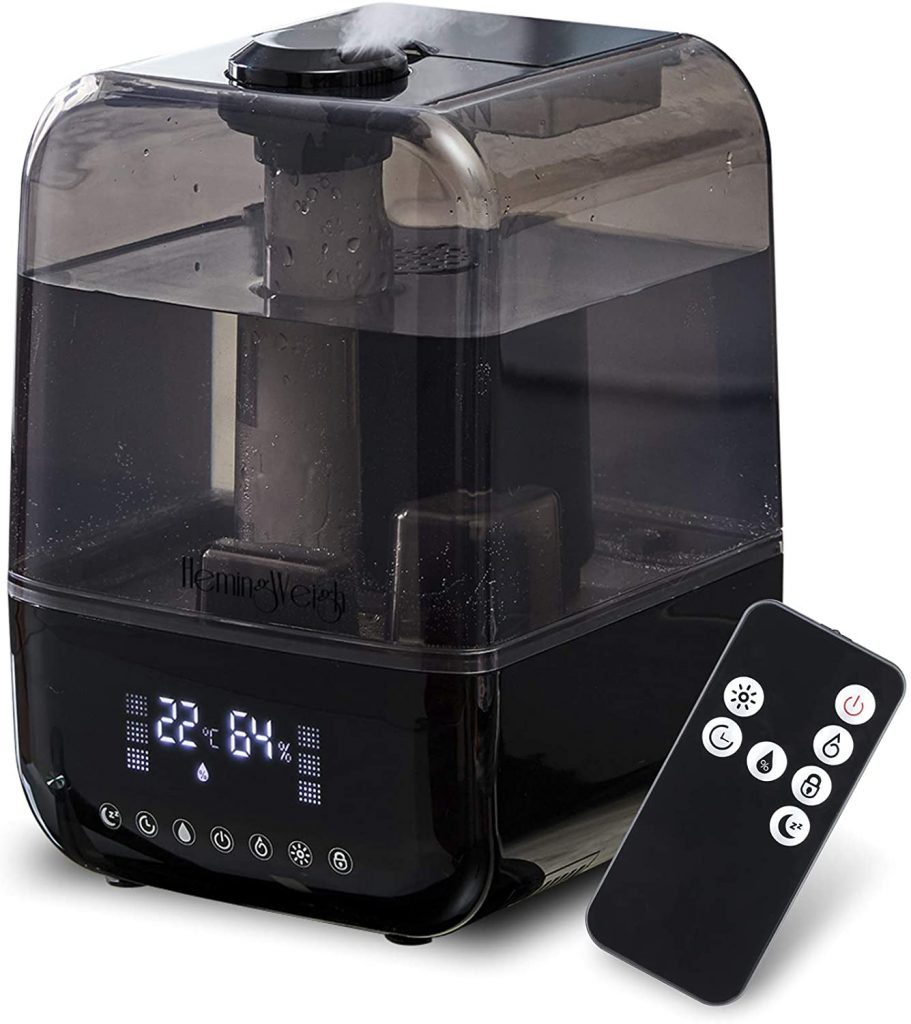 4. HemingWeigh Air Humidifier, Ultrasonic Mist Humidifier with Remote Control and Filter, Quiet