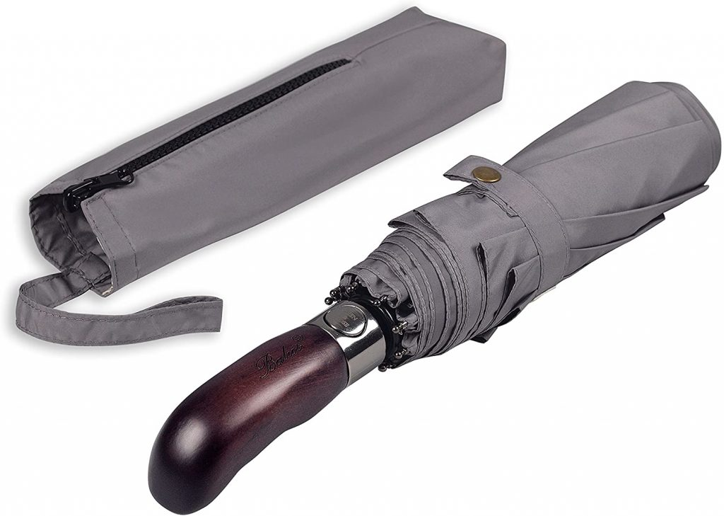 3. Balios Travel Folding Umbrella with Real Wood Handle Auto Open Close Vented Windproof Canopy
