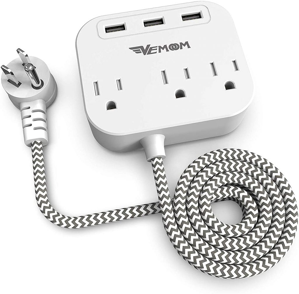 2. VEMOOM Power Strip with USB, 3 Outlets and 3 USB Ports 6.5Ft Long Extension Braided Cord